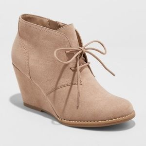 Microsuede Fall Wedge Womens Taupe Ankle Booties